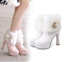 Womens Winter Warm Fur Rhinestones High Block heels Platforms Ankle Boots Shoes