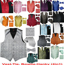 Men's Paisley Design Dress Vest and Neck Tie & Bow Tie & Hankie Set (4 in 1 Set)
