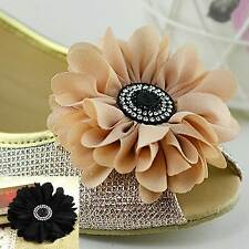A Pair Black Nude Black Chiffon Daisy Flower Wedding Bridal Shoe Clips
