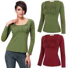 Womens Long Sleeves Casual Blouses Ladies Summer Ruched Cotton T-Shirt Tops S-XL