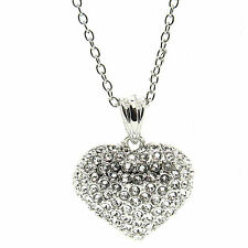 Crystal Large  Heart  Pavé Necklace Pendant made with SWAROVSKI® Crystals