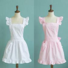 Girls Victorian Maid Apron Fancy Dress Pinafore Pinny Smock Costume Pink/ White