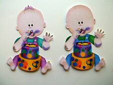 3D - U Pick - Babies Eating Cake Girl Boy Scrapbook Card Embellishment #1686