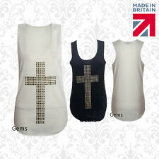 Womens Ladies Sleeveless Cross Gold Stud Stretch Vest Tshirt Tee Top 8 10 12 14