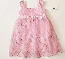 NWT IZ Byer Girls 4-6X Pink Mesh Sparkly Glitter Easter Party Fancy Summer Dress