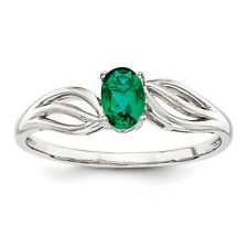 Oval Sterling Silver Created Emerald May Birthstone Ring 1.55 gr Size 5 to 10