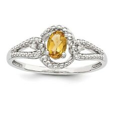Sterling Silver November Birthstone Ring Citrine & .02 CT Diamond Size 5 to 10