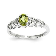 Sterling Silver August Birthstone Peridot & .02 CT Diamond Ring Size 5 to 10