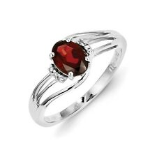 Sterling Silver Oval Garnet & 0.02 CT Diamond Ring 1.68 gr Size 6 to 9