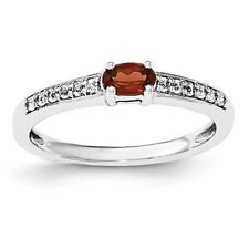 Sterling Silver Oval Cut Garnet & White Topaz Ring 1.80 gr Size 6 to 8