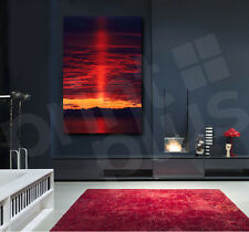 Red Sunset Clouds On The Lake Canvas  Art Poster Print