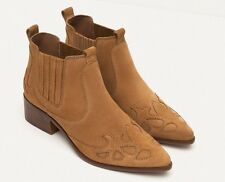 ZARA women SS 2016 BLOCK HEEL LEATHER COWBOY ANKLE BOOTS 36-41 Ref. 3106/101