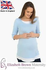 PLUS SIZE* Mock-Layered Maternity Top Sky Blue and White 18-20 22-24 26-28