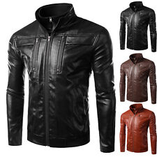 Mens Fashion Slim Fit Motorcycle PU Leather Jacket Coat Bomber Collar Outerwear