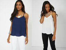 Ex-Branded Navy or Cream Strappy Cami Camisole Top Sizes 6 8 10 12 14 16 18 20