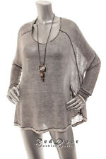 NW-Defect FREE PEOPLE Women We The Free Scoop Neck Dolmen Knit Shirt Top Gray  M