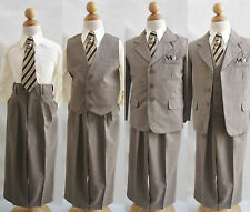 Boy Todder Teen Light Brown Pinstripe formal suit ring bearer wedding party