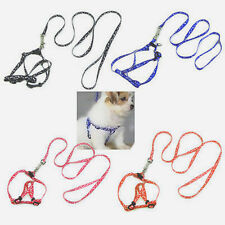 Popular Printed Small Dog Pet Puppy Cat Adjustable Nylon Harness With Lead Leash