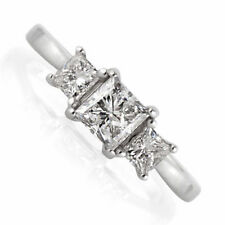 1 Ct Three Stone Diamond Engagement Ring 14K White Gold Band Size 6.5 Enhanced