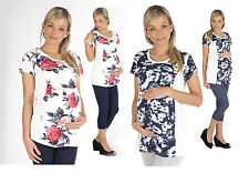 Maternity Shirt Tunic Blouse Short sleeved Top Pregnancy flower Print