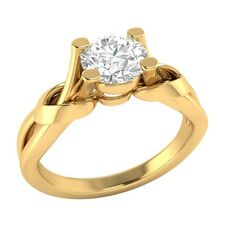 0.65ct D/VVS1 Simulated Diamond Solitaire Wedding Engagement Ring Solid Gold