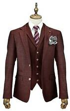 MENS WINE 3 PIECE TWEED SUIT DESIGNER CHECK WEDDING PARTY TAILORED SMART