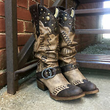 CORRAL WOMEN'S SLOUCH & STUDDED HARNESS ROUND TOE COWBOY BOOTS BROWN A3141