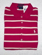 RALPH LAUREN BRIGHT PINK LONG SLEEVE POLO SHIRT WHITE STRIPES NWT S M L XL