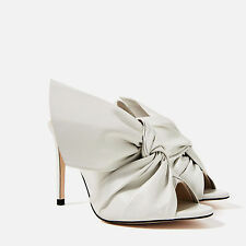 ZARA ECRU LEATHER HIGH STILETTO HEEL SANDALS SLINGBACK WITH BOW  REF. 6616/101