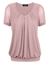 Nude Sexy Women's Short Sleeve V-Neck Front Pleated Net Yarn Fashion Tunic Tops