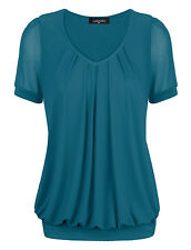 Blue Sexy Women's Short Sleeve V-Neck Front Pleated Net Yarn Fashion Tunic Tops
