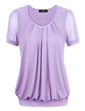 Purple Sexy Women Short Sleeve V-Neck Front Pleated Net Yarn Fashion Tunic Tops