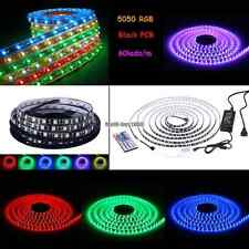 1-20M RGB 5050 Black PCB Waterproof 300 LED Strip Light Lamp IR Remote 12V Power