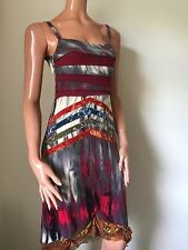 Stunning Multicoloured Silk Save the Queen Dress Size L UK 12/14 Bust 32