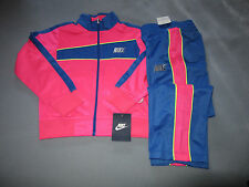 NIKE YOUTH GIRLS PINK YELLOW AND BLUE TRACKSUIT - ZIP FRONT JACKET AND PANTS