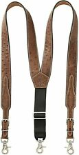 Nocona Western Mens Suspenders Galluse Leather Ostrich Print Tan N8513208