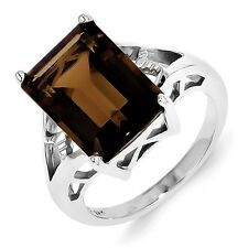 Sterling Silver Emerald Cut Smoky Quartz Ring 4.22 gr Size 6 to 8