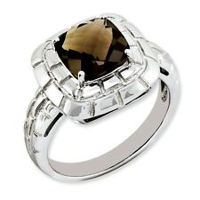 Sterling Silver Square Cut Smoky Quartz Ring 3.87 gr Size 5 to 10
