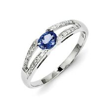 Sterling Silver Oval Cut Tanzanite & .08 CT Diamond Ring 1.23 gr Size 6 to 8