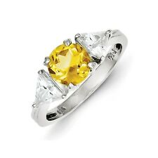 Sterling Silver Round Citrine & Clear CZ Ring 2.48 gr Size 6 to 8