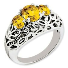 Sterling Silver Three Stone Oval Cut Citrine Ring 5.93 gr Size 5 to 10