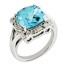 Sterling Silver Square Blue Topaz & .15 CT Diamond Ring 4.51 gr Size 5 to 10