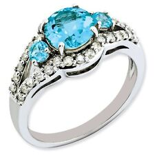 Sterling Silver Round Light Blue Topaz .37 CT Diamond Ring 1.93 gr Size 5 to 10