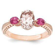 Sterling Silver Rose Gold-Plated Morganite & Tourmaline Ring 2.33 gr Size 6 to 8