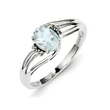 Sterling Silver Oval Cut Aquamarine & .02 CT Diamond Ring 1.58 gr Size 6 to 9