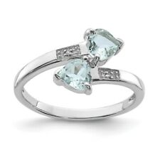 Sterling Silver Heart Cut Aquamarine & .01 CT Diamond Ring 1.68 gr Size 6 to 8