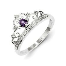 Sterling Silver Round Cut Amethyst .02 CT Diamond Ring 2.15 gr Size 6 to 9