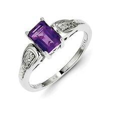 Sterling Silver Emerald Cut Amethyst & .01 CT Diamond Ring 2.13 gr Size 6 to 9