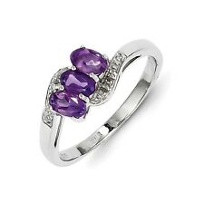 Sterling Silver Three Stone Oval Amethyst & .01 CT Diamond Ring Size 6 to 8