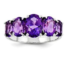 Sterling Silver Five Oval Stone Amethyst Ring 1.82 gr Size 6 to 8